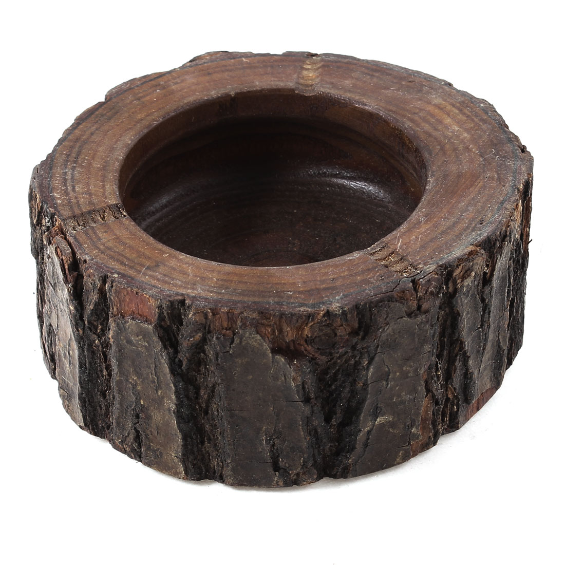 Home Office Wood Color Wooden Tree Trunk Style Cigarette Ash Holder Ashtray