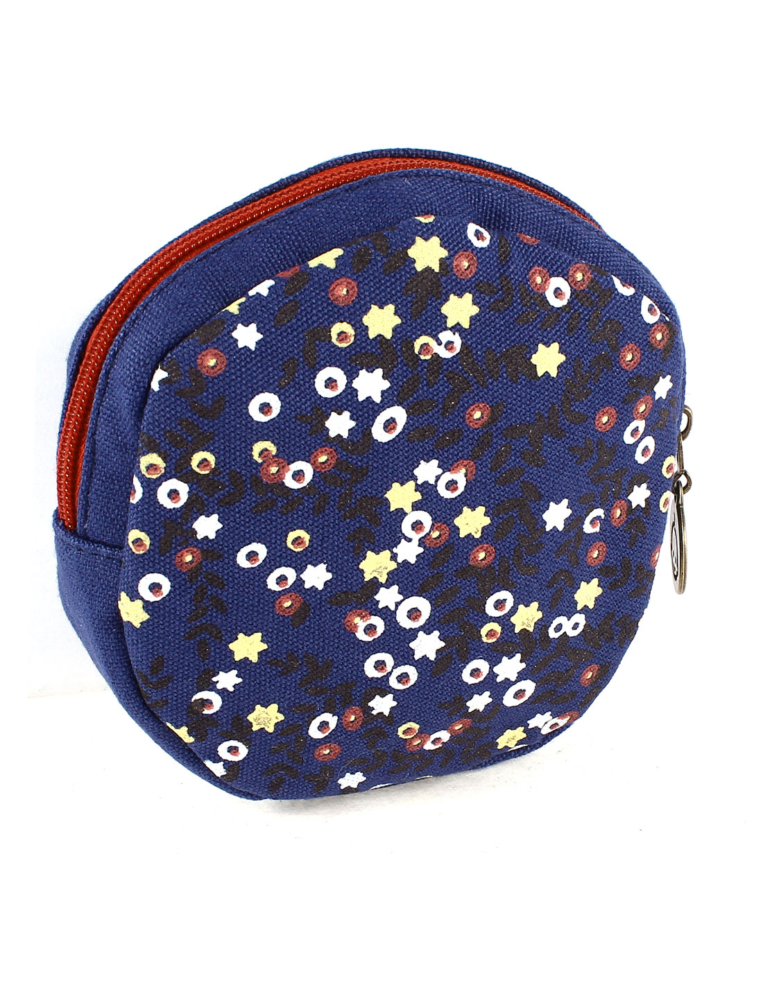 Zipper Closure Flower Pattern Round Shape Cash Coin Money Key Credit Card Purse Bag Dark Blue for Lady