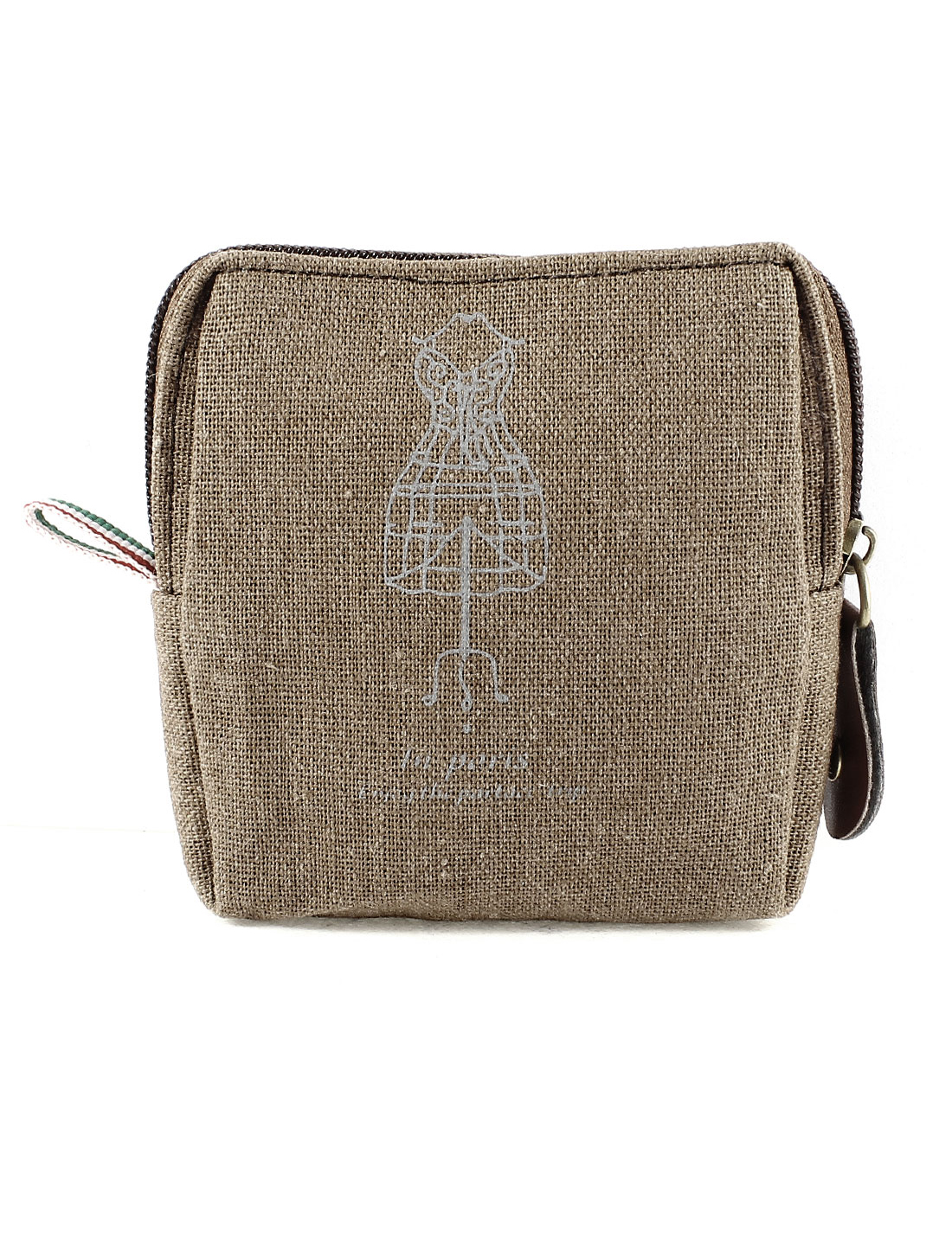 Ladies Canvas Zipper Closure Money Coin Change Purse Casual Brown