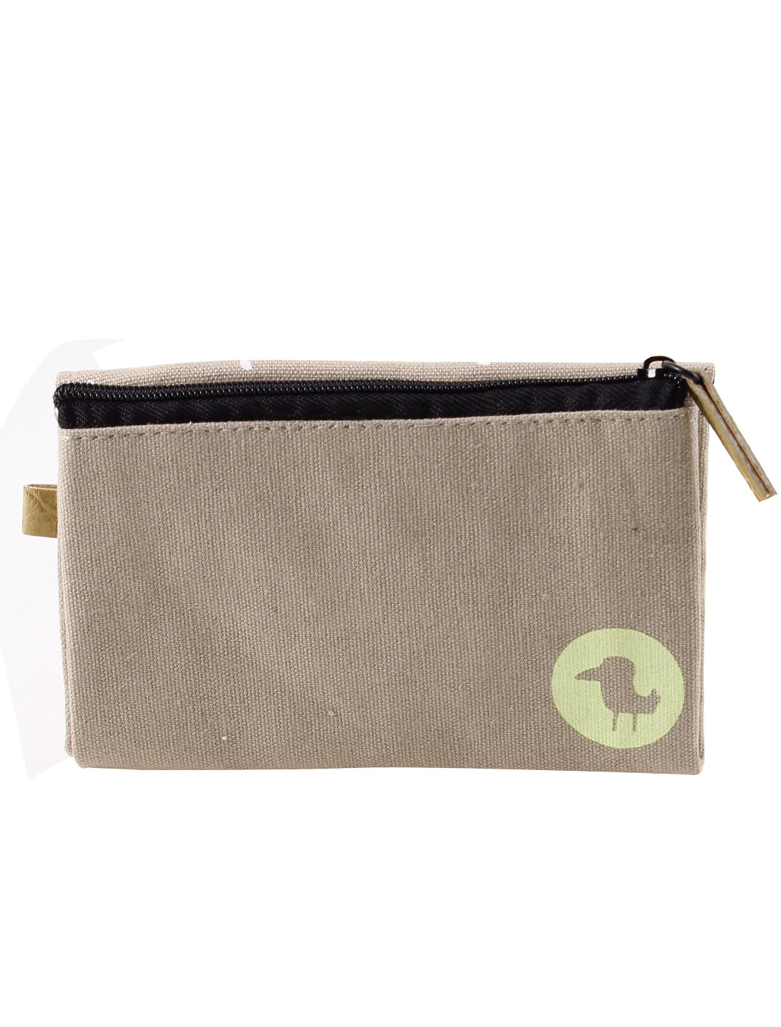 Zipper Closure Press Button Two Slots Cash Coin Money Key Credit Card Purse Bag Khaki for Ladies