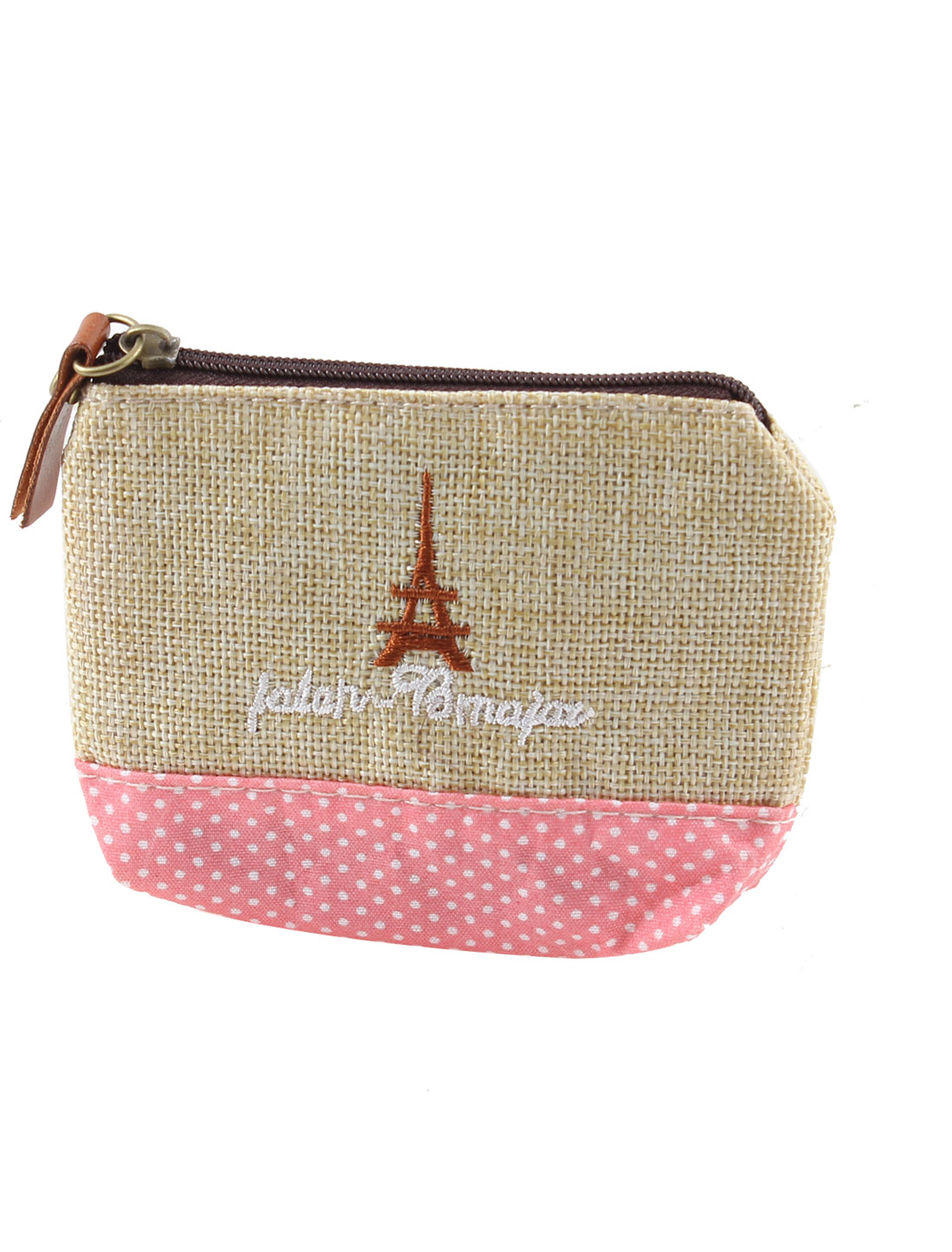 Dots Pattern Zip Up Eiffel Tower Accent Cash Coin Money Key Credit Card Purse Bag Beige Pink for Ladies
