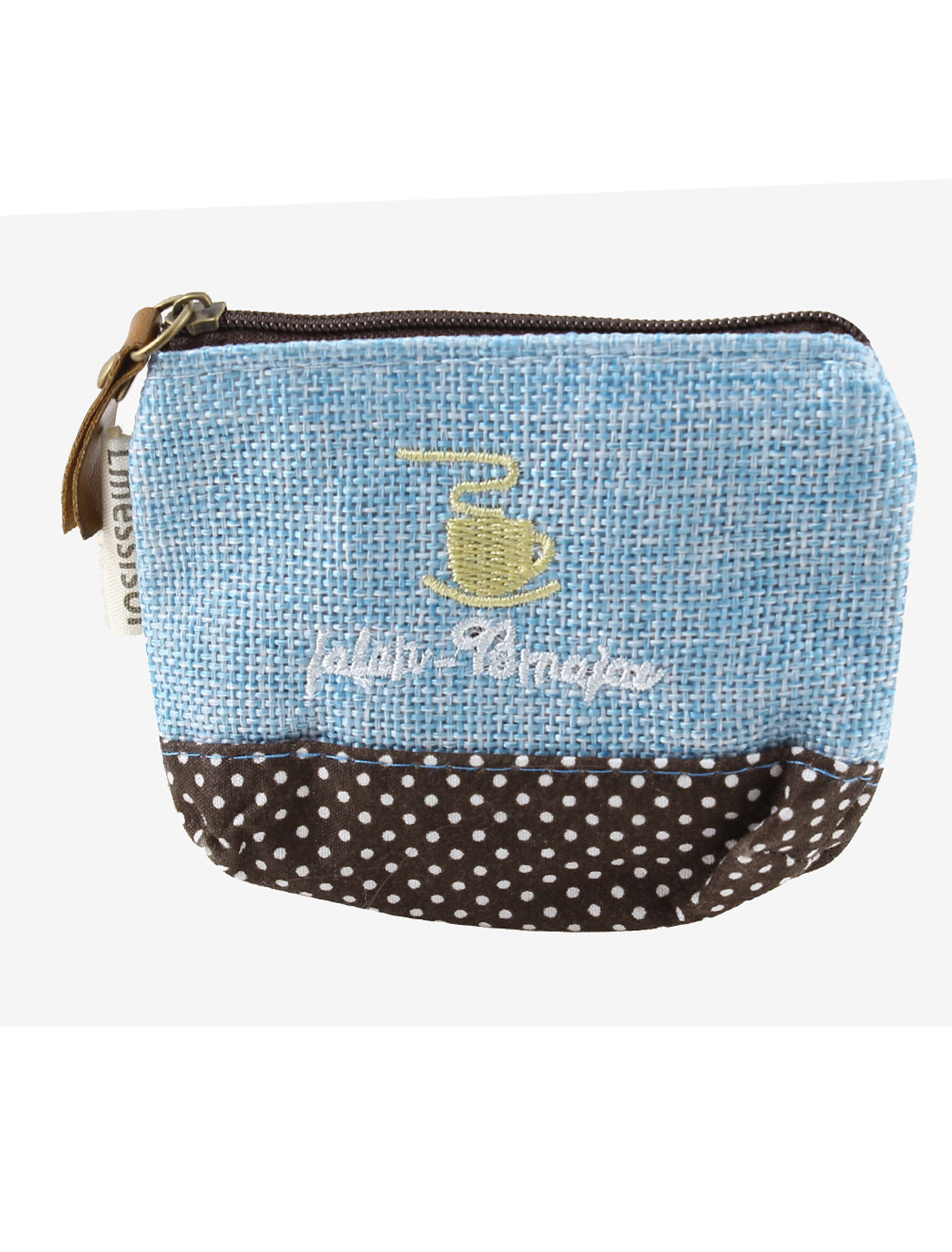 Dots Pattern Zipper Closure Coffee Cup Detail Cash Coin Money Key Credit Card Purse Bag Light Blue for Ladies