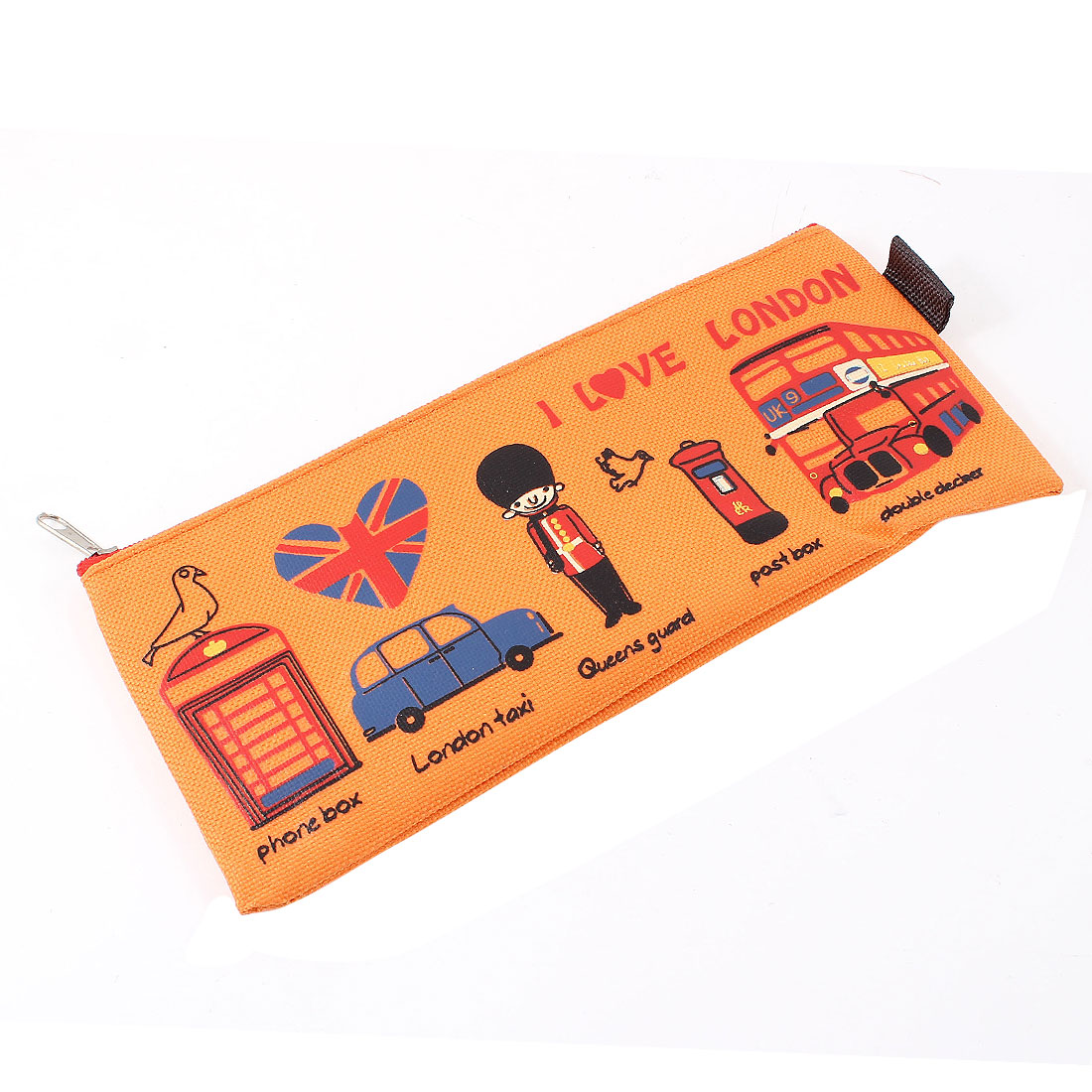 Cartoon Bus Letter Pattern Canvas Zipper Closure Stationery Pencil Holder Bag Pouch Orange