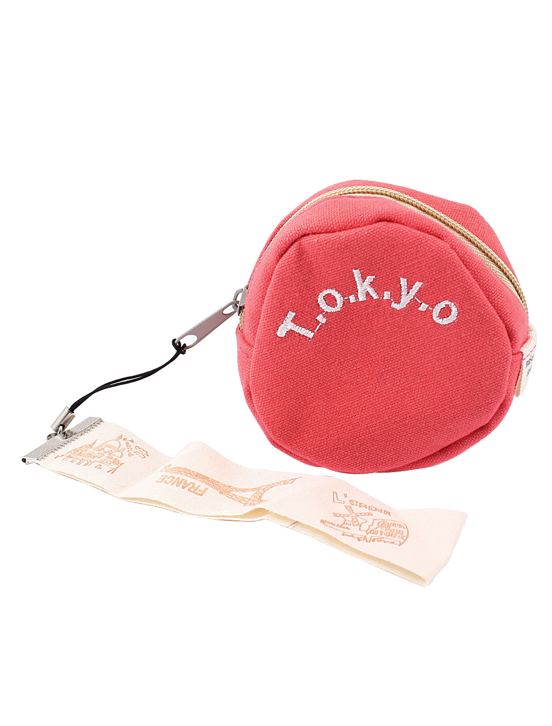 Ladies Letter Printed Zipper Closure Key Ring Cash Coin Purse Red