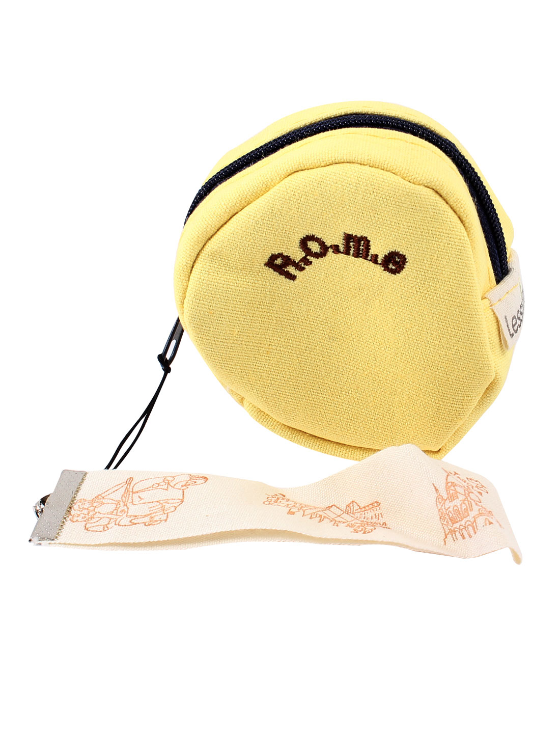 Yellow Single Compartment Letter Pattern Zip Up Coin Purse for Women