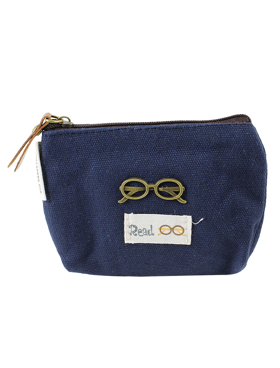 Women Blue Glasses Detailing Zip Up Key Ring Coin Money Bag Purse