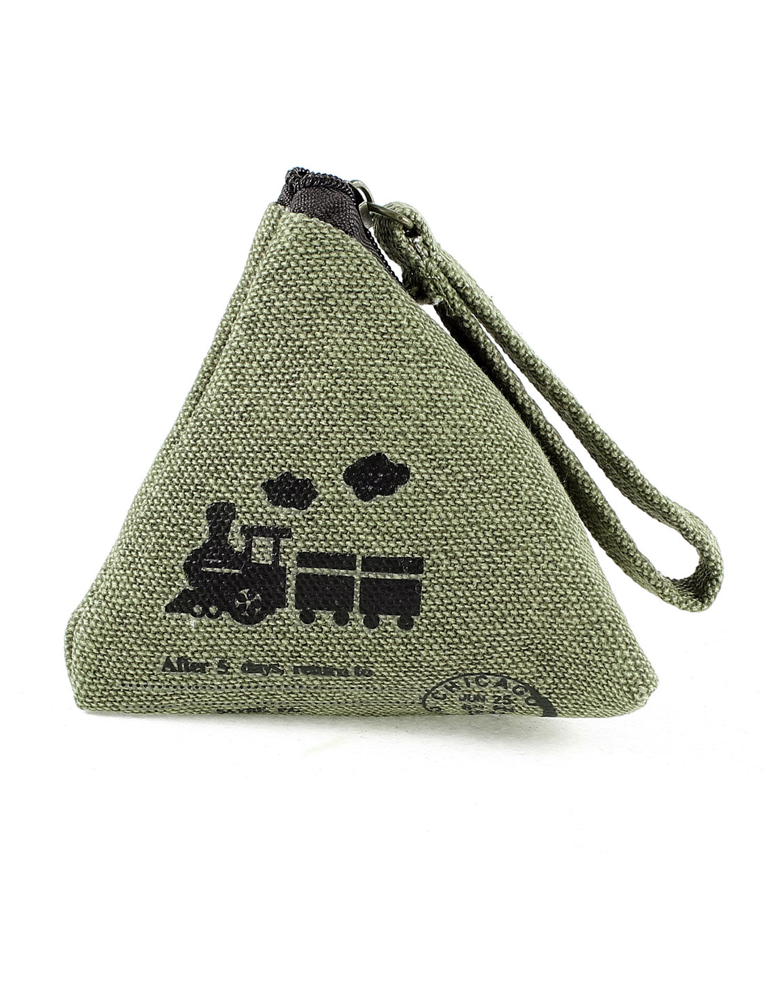 Steam Train Print Pyramid Shape Zipper Closure Cash Coin Money Key Credit Card Purse Bag Army Green for Lady
