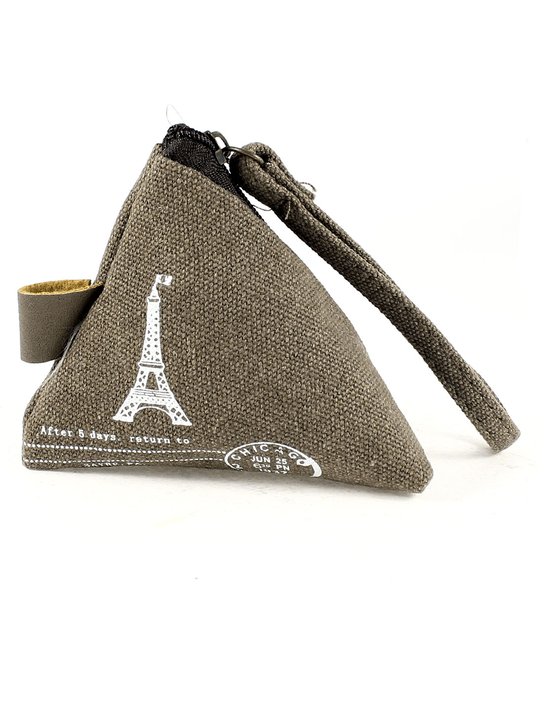 Pyramid Shape Zip Up Eiffel Tower Pattern Cash Coin Money Key Credit Card Purse Bag Coffee Color for Lady