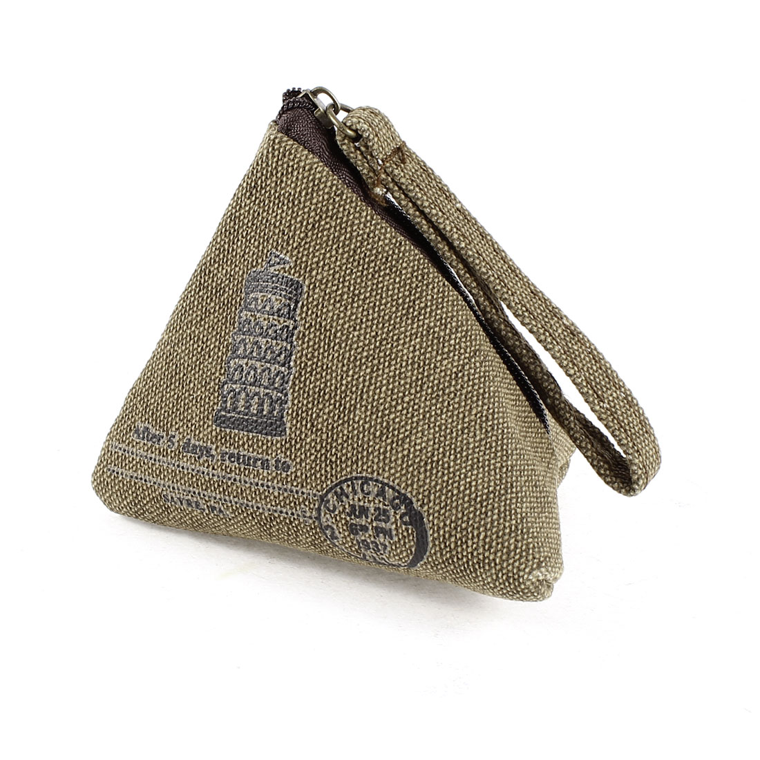 Pisa Tower Print Pyramid Shape Zipper Closure Cash Coin Money Key Credit Card Purse Bag Brown for Ladies
