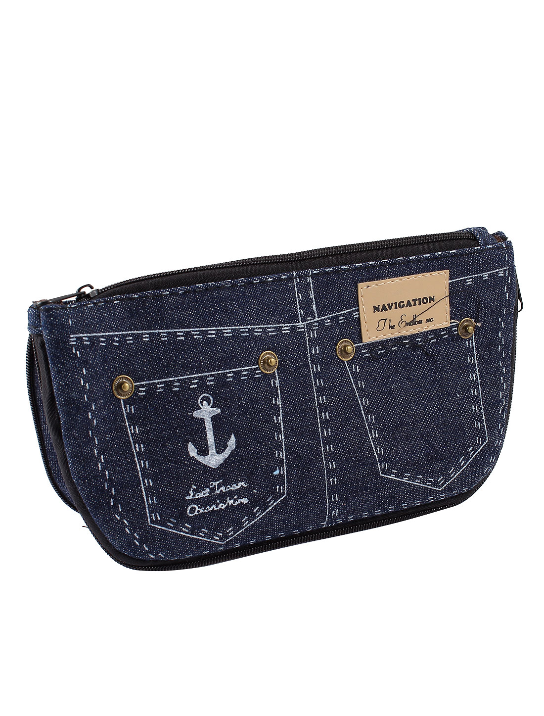 Black Dual Compartment Jeans Pocket Pattern Zip Up Coin Purse for Lady