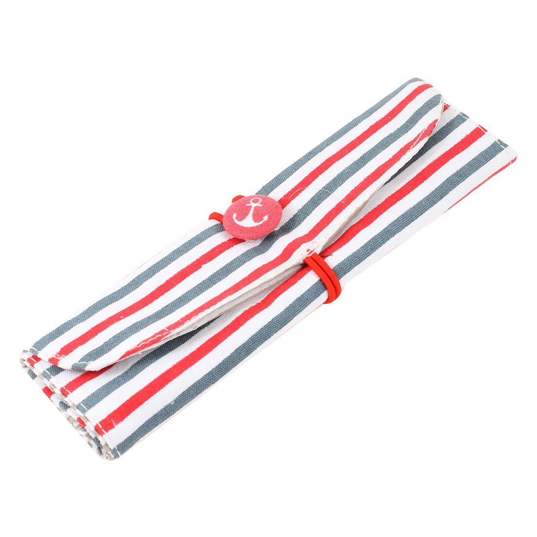Student Stationery Stripe Printed Foldable Pen Ruler Holder Bag Red White Green