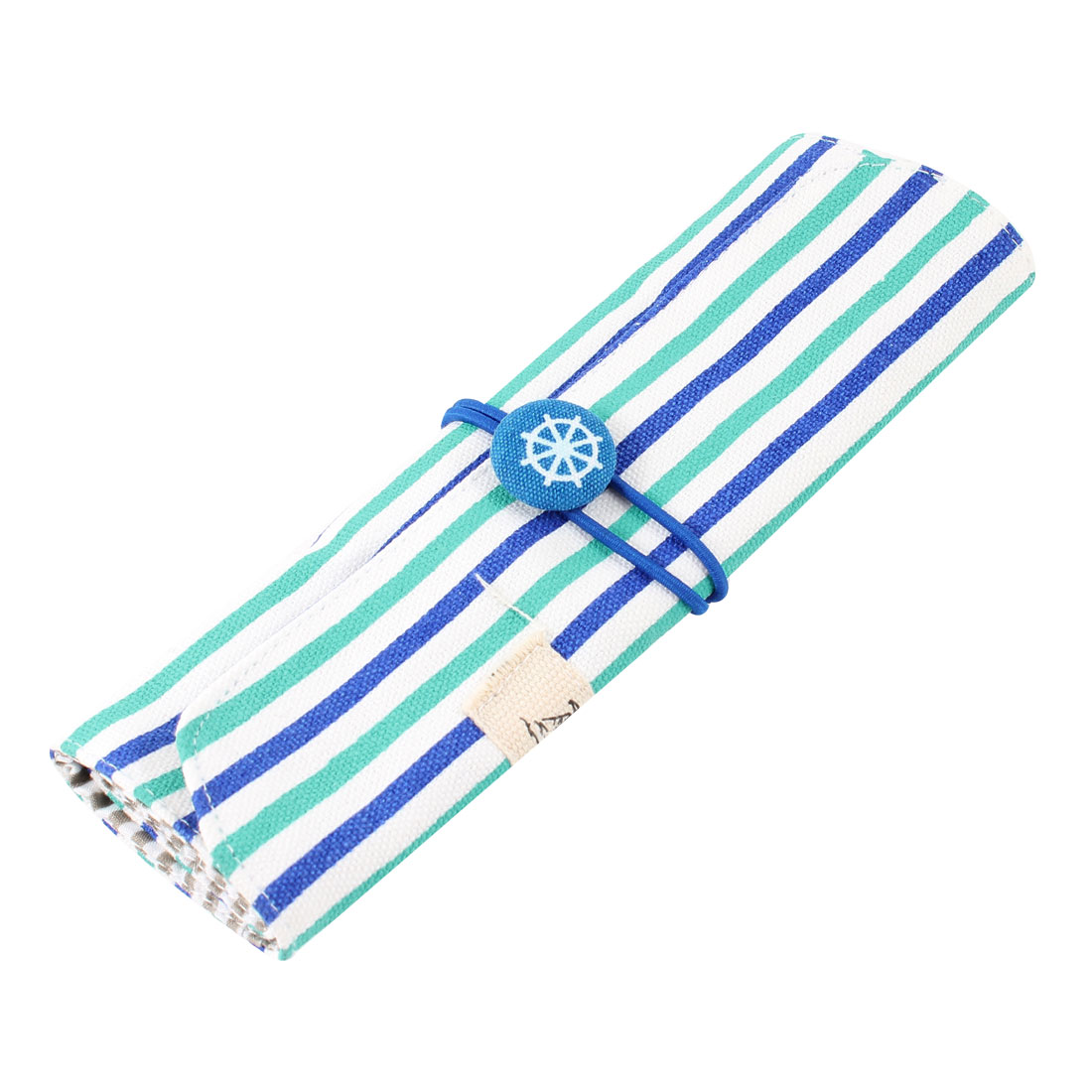 Stripe Print Folding Stationery Drafting Tool Pencil Holder Bag Blue White Green