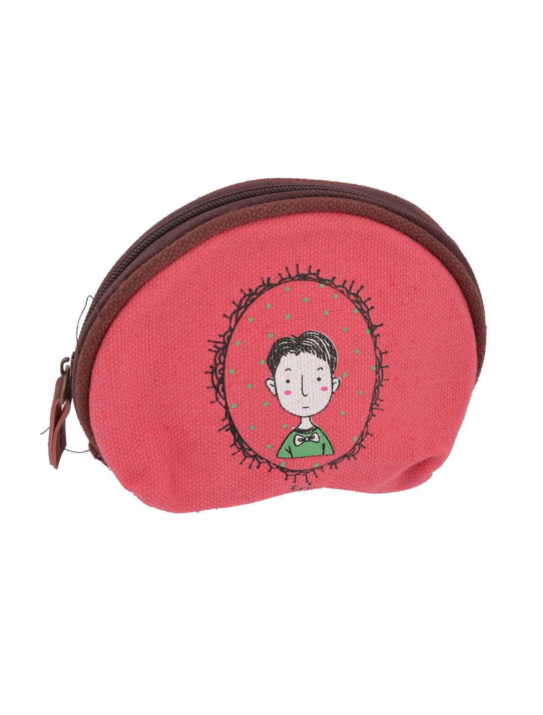 Ladies Cartoon Boy Pattern Zipper Canvas Coin Purses Wallet Bag Watermelon Red