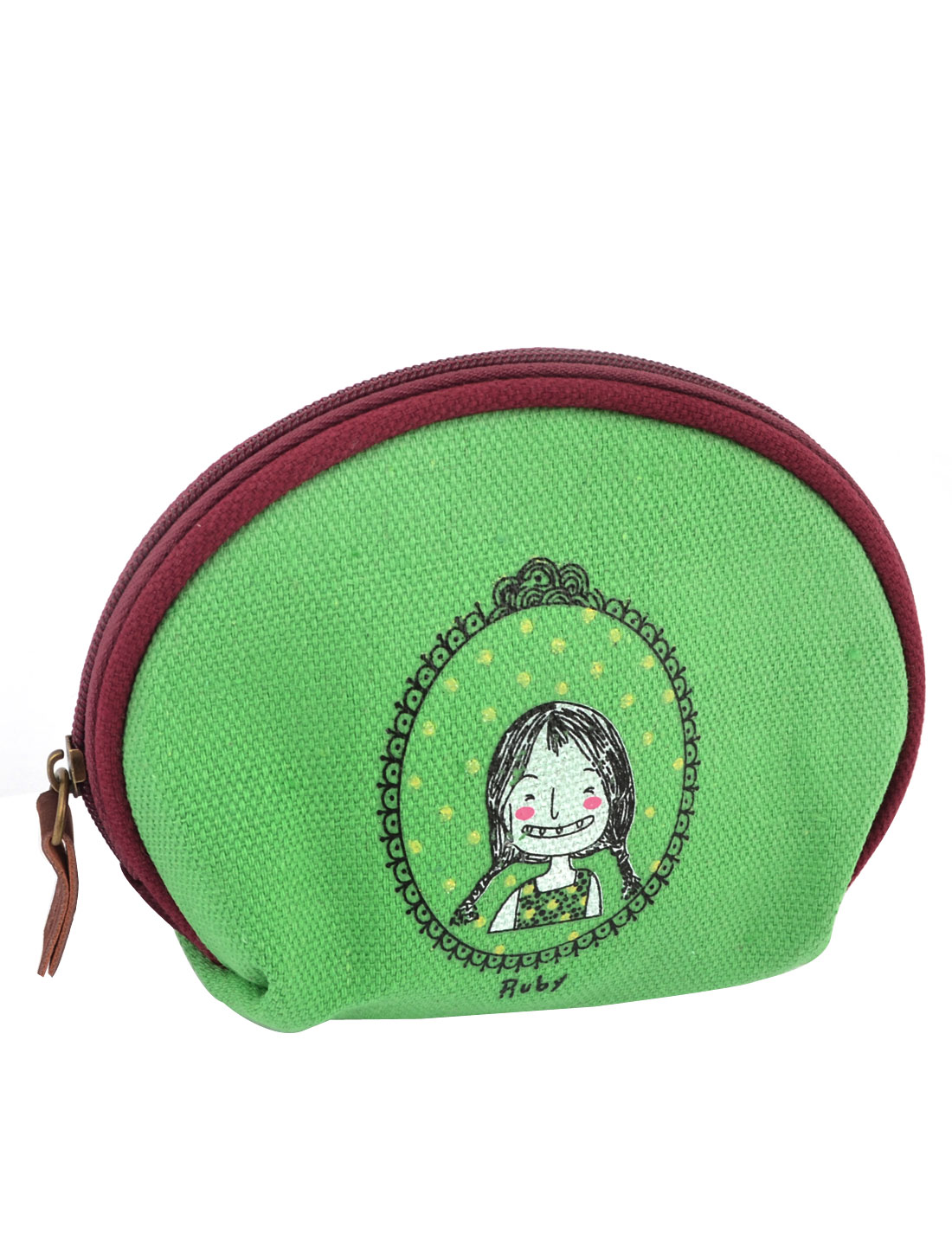 Ladies Cartoon Girl Pattern Zipper Canvas Coin Purses Money Wallet Bag Green