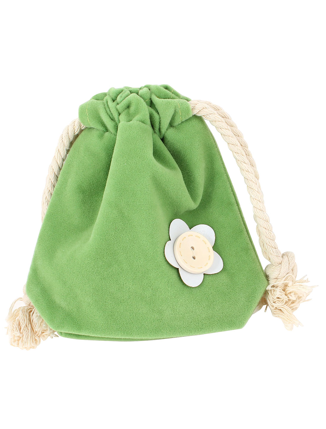 Women Flower Printed Drawstring Closure Key Ring Cash Coin Purse Green