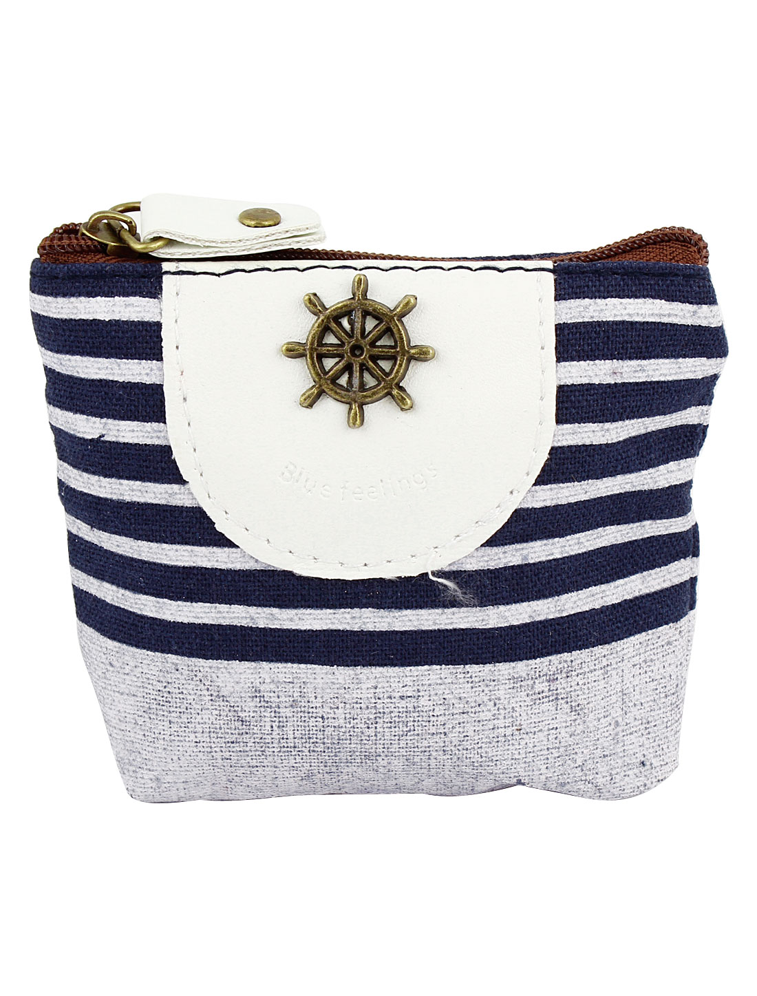 Ladies Canvas Zipper Closure Ship Steering Wheel Detail Money Coin Change Purse