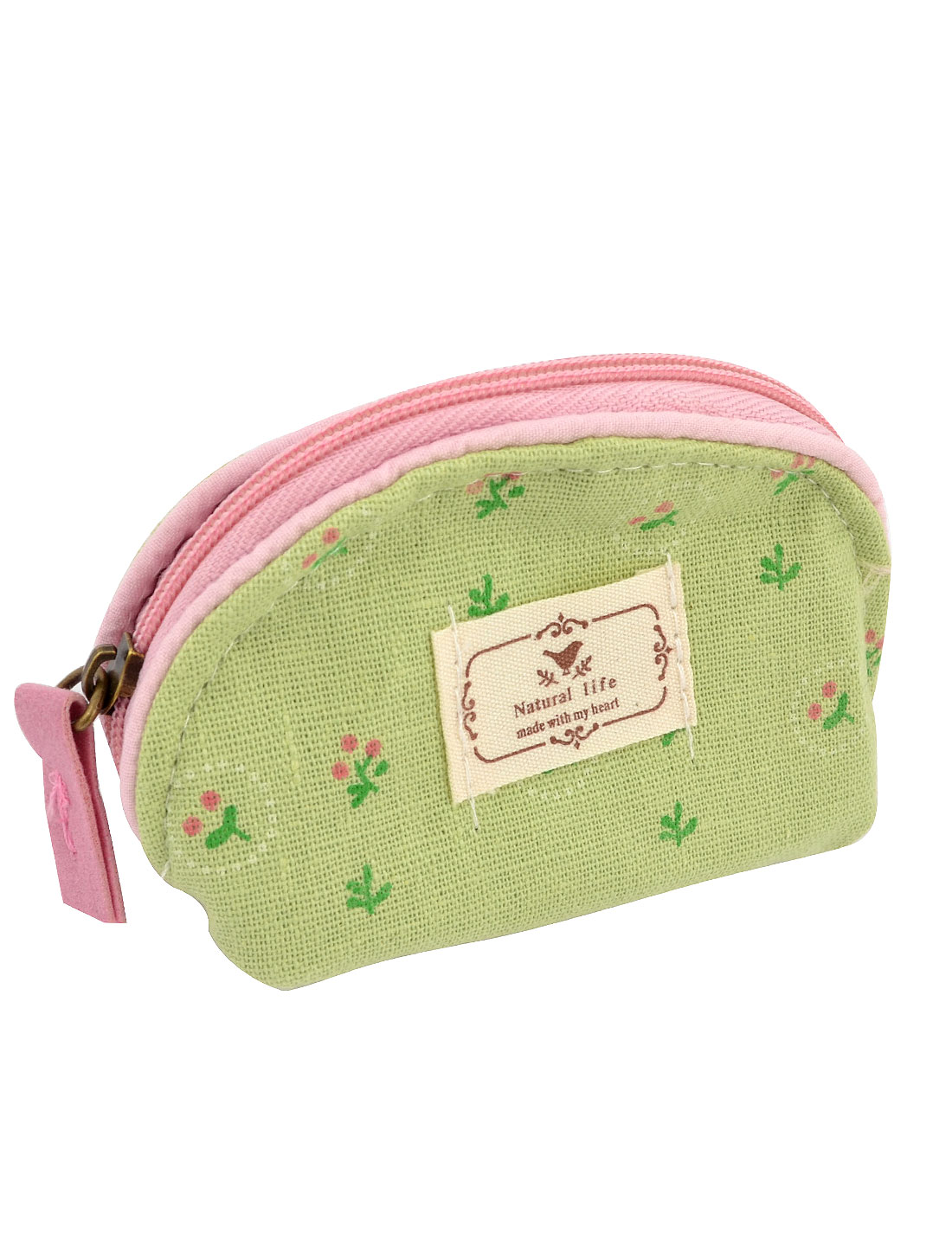 Ladies Floral Pattern Zipper Canvas Coin Purses Money Wallet Bag Green