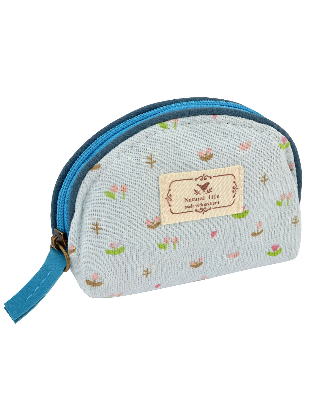 Ladies Floral Pattern Zipper Canvas Coin Purses Money Wallet Bag Pale Blue