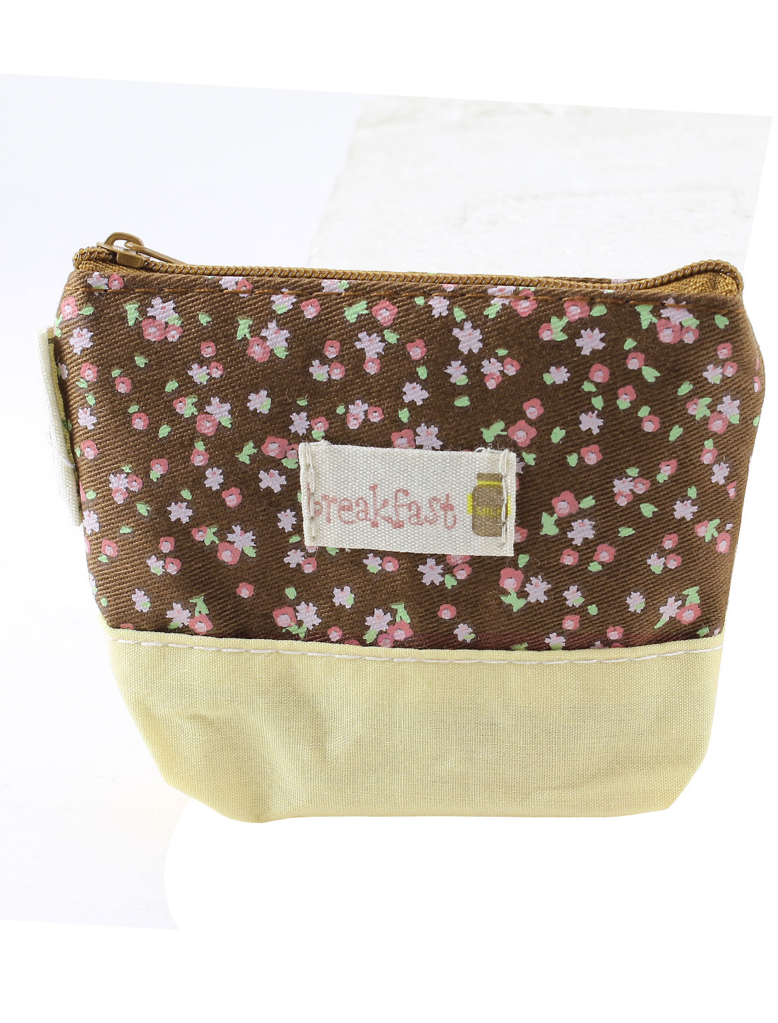 Flowers Pattern Zip Up Cash Coin Money Key Credit Card Purse Bag Beige Chocolate Color for Lady