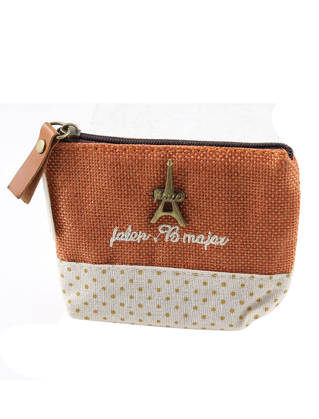 Dots Pattern Zipper Closure Metal Eiffel Tower Accent Cash Coin Money Key Credit Card Purse Bag Brick Red for Ladies