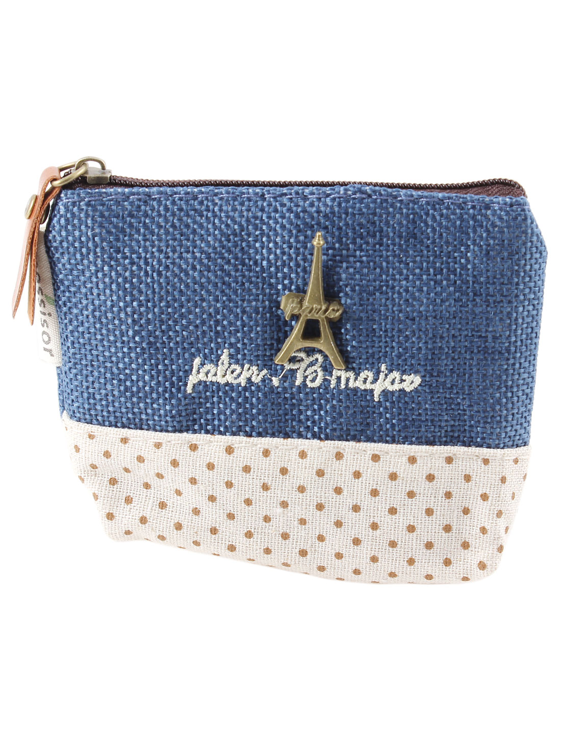 Dots Pattern Zipper Closure Metal Eiffel Tower Decor Cash Coin Money Key Credit Card Purse Bag Dark Blue for Ladies