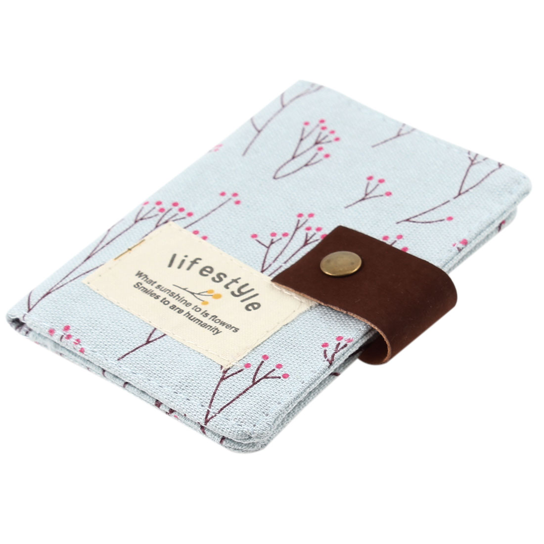 Trees Pattern Canvas Cover Press Button 10 Sheets 20 Slots Business ID Name Card Holder Case Organizer Pale Blue