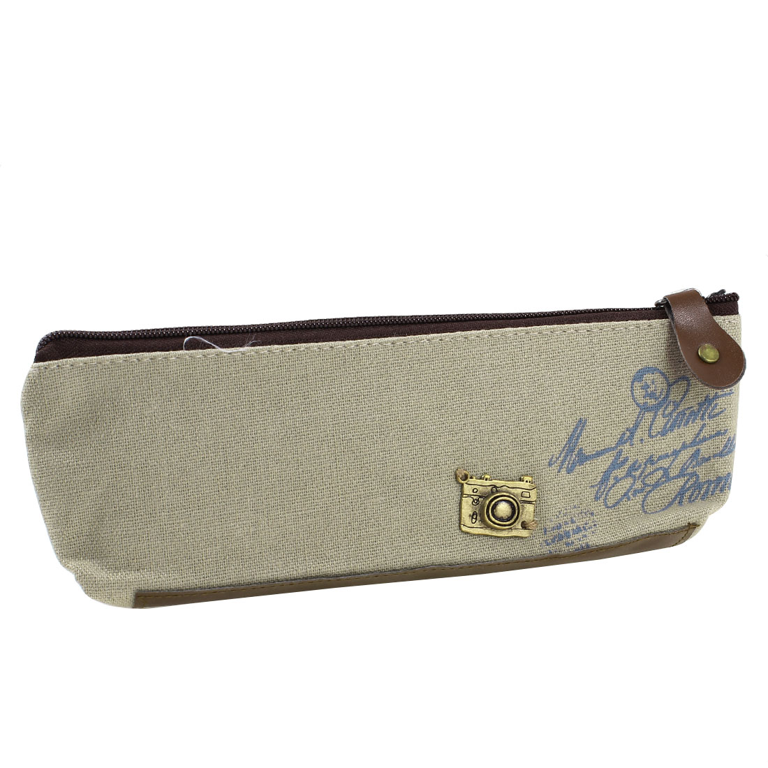 Camera Letter Pattern Zip Up Closure Pen Tool Holder Bag Pouch Khaki