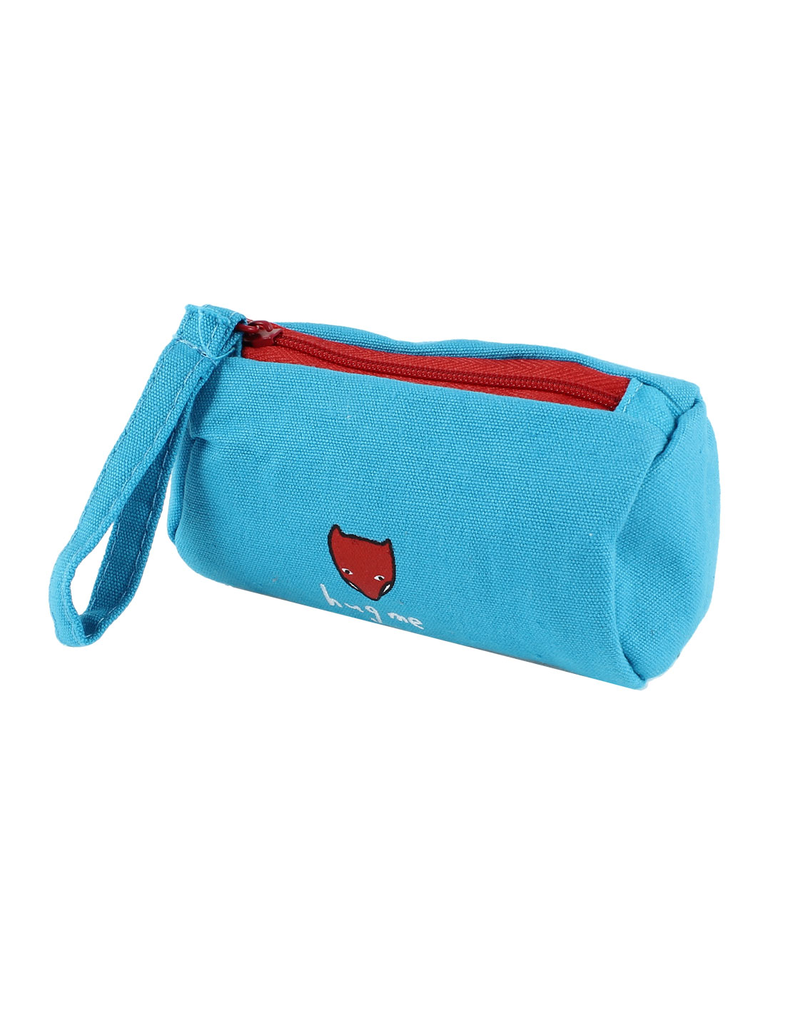 Canvas Zipper Closure Fox Pattern Key Ring Money Coin Change Purse Red Blue