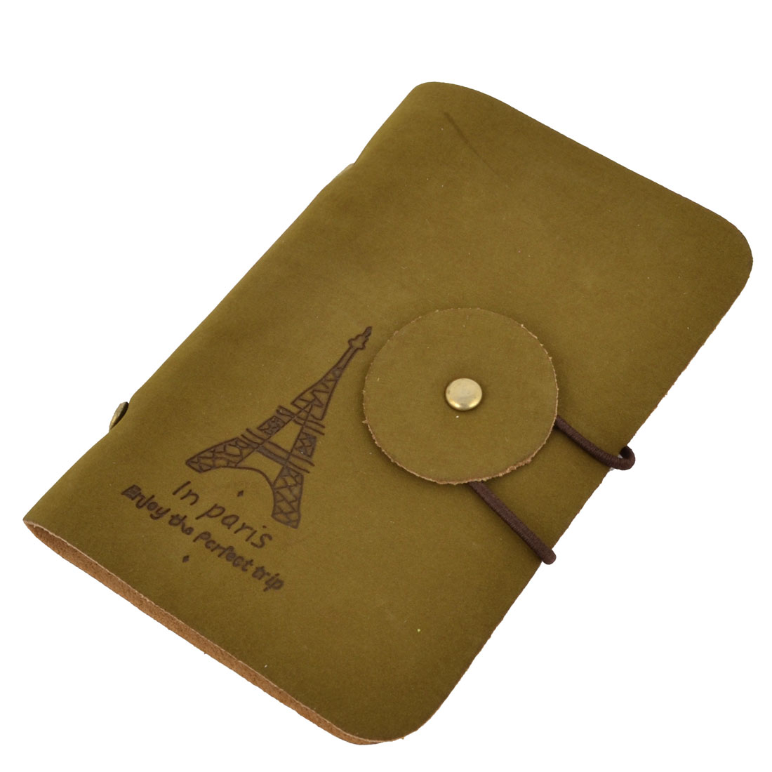 Faux Leather Elastic String Closure Business VIP ID Card Holder Organize Brown