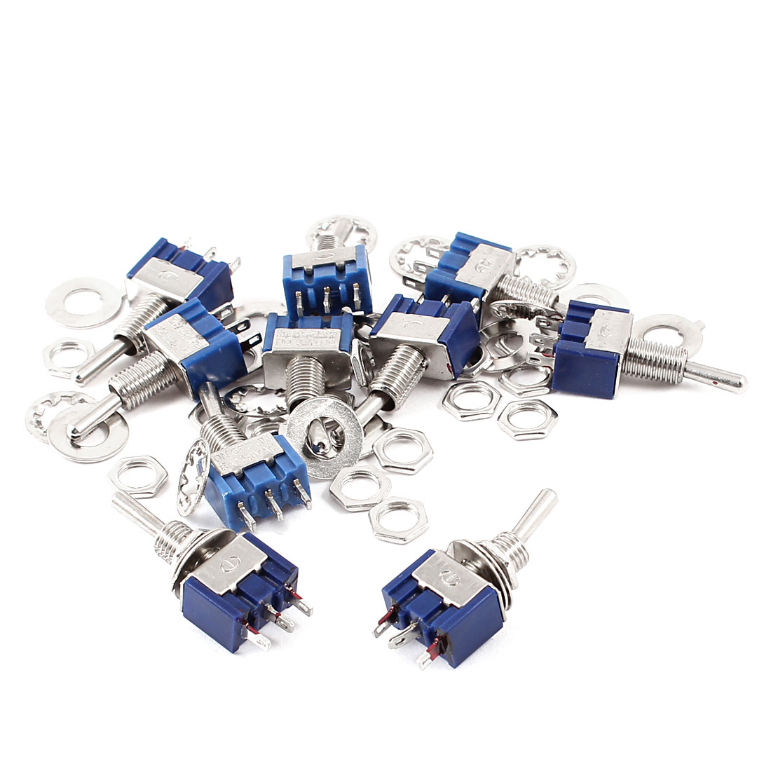 AC 125V 6A 3 Terminals Latching SPDT 3 Position On/Off/On Toggle Switch Blue 10 Pcs