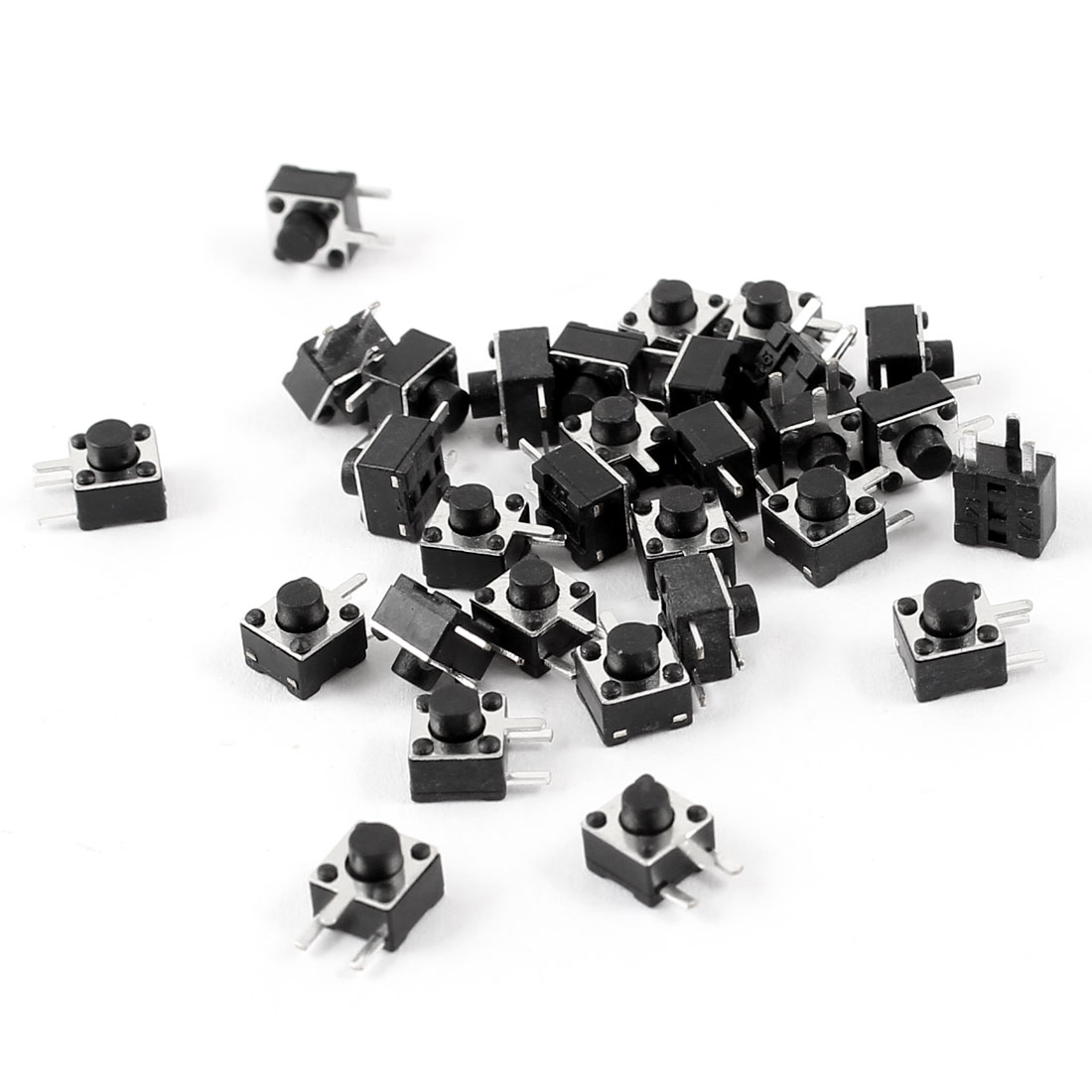 30 Pcs PCB Mount Momentary 3 Terminals SPST Tactile Tact Switch Black 4.5x4.5x4.3mm