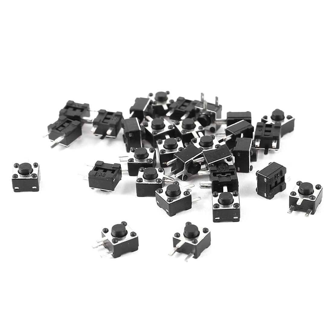 30pcs Momentary Panel PCB Mount Round Push Button SPST Tactile Tact Switch Black 4.5mmx4.5mmx3.8mm