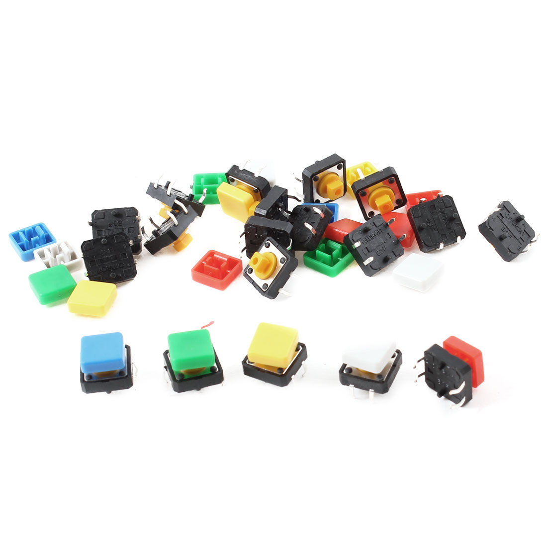 20pcs 12x12x7.3mm 4Pin DIP Through Hole Mount Momentary Tact Switch w Square Cap