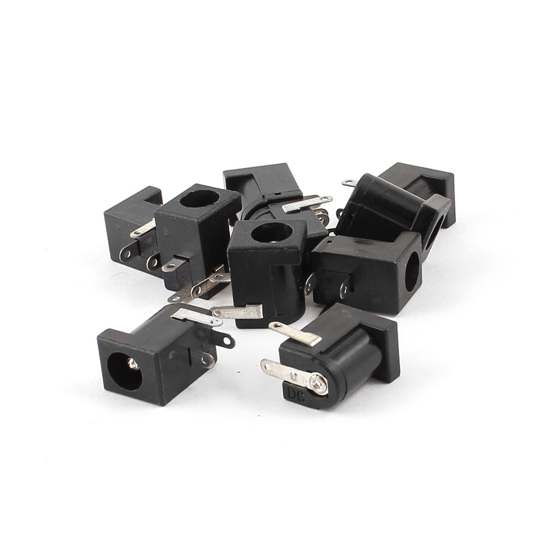10pcs Black 3 Pole 2.5mmx5.5mm DC Power Jack Socket PCB Mount Connector