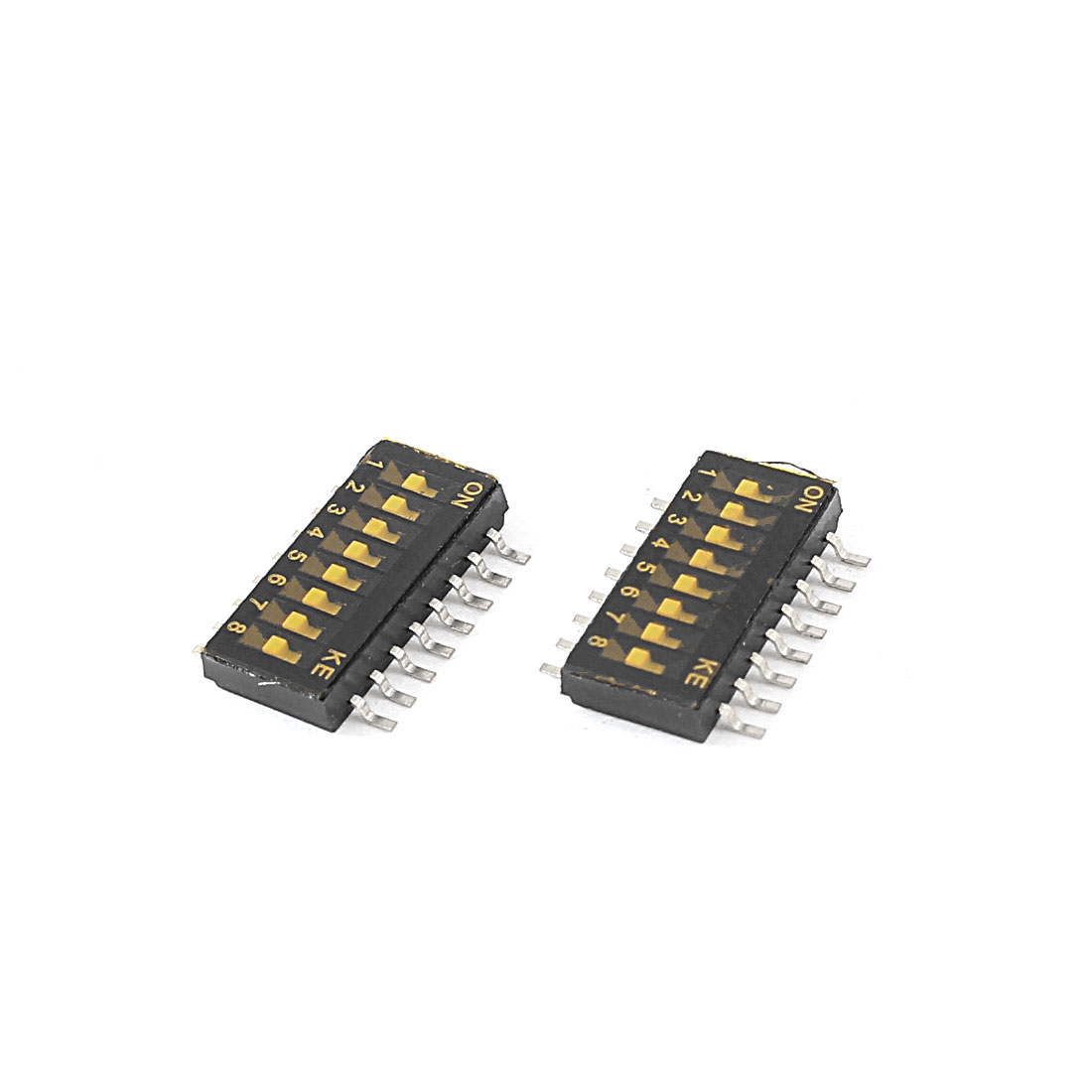 2pcs 16 Pin 1.27mm Spacing 8 Position Half Pitch Surface Mount DIP Switch
