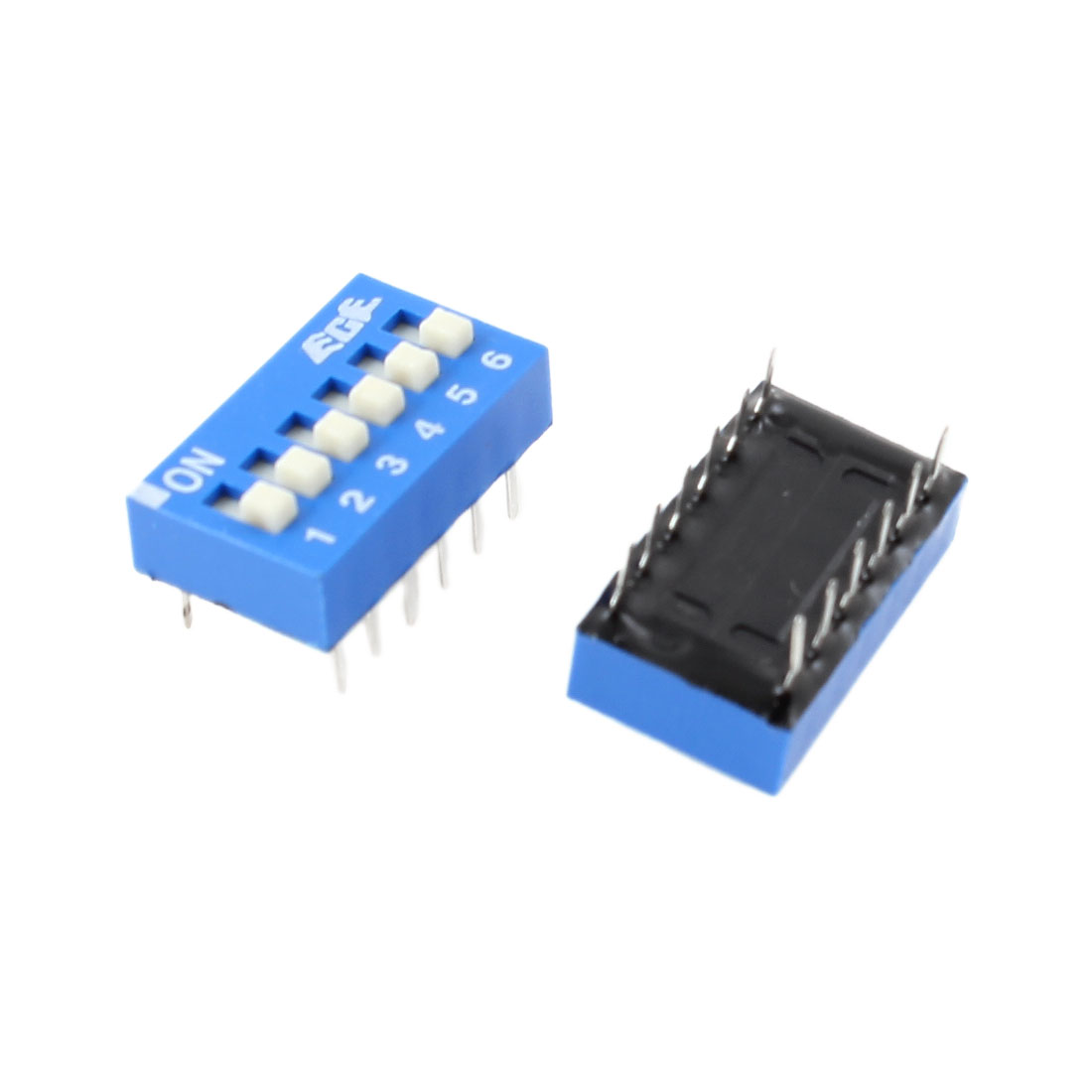 2 Pcs PCB Mount 6 Positions 2.54mm Spacing Slide Type DIP Switch Blue