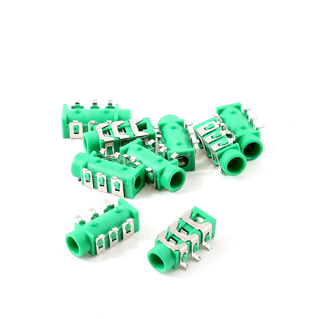 10 Pcs 6 Pins 3.5mm SMD Stereo Headphone Socket PCB Mount Connector Green