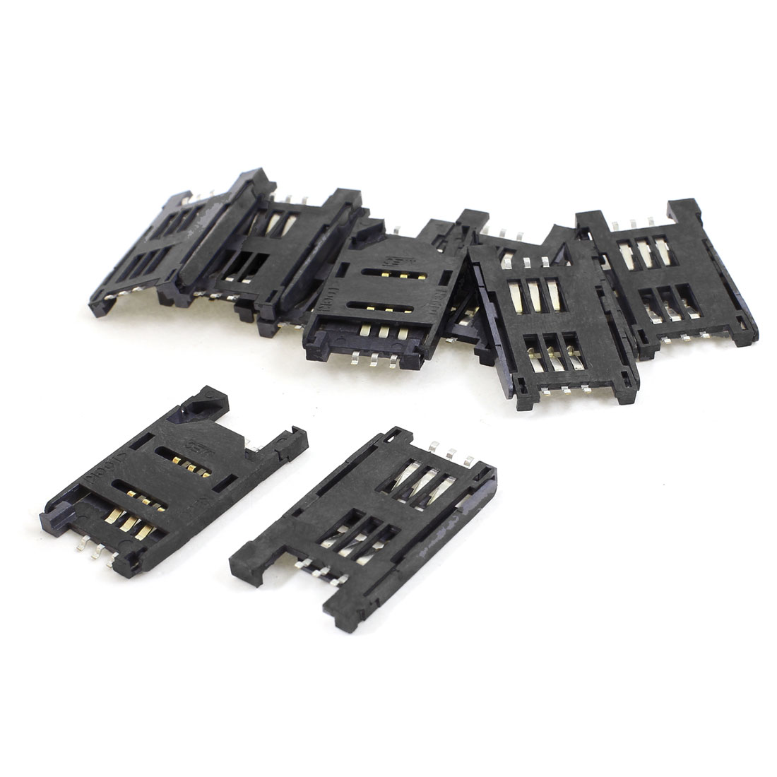 10pcs Plastic Cover 6 Pin Cell Phone SIM Card Sockets Slots Holder