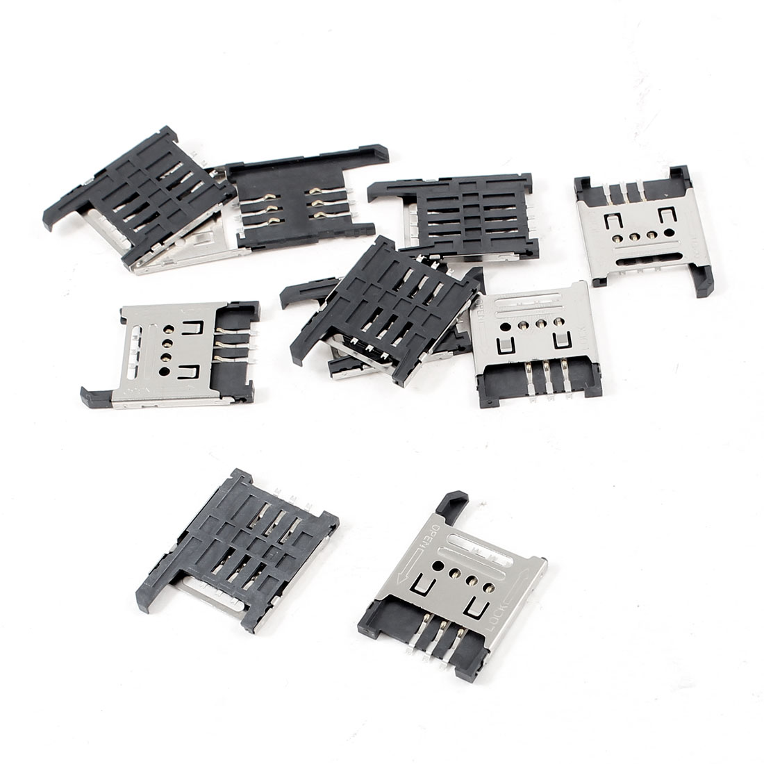 10pcs Hinged Cover 6-Pin PCB Mounting SIM Card Socket for Cell Phone