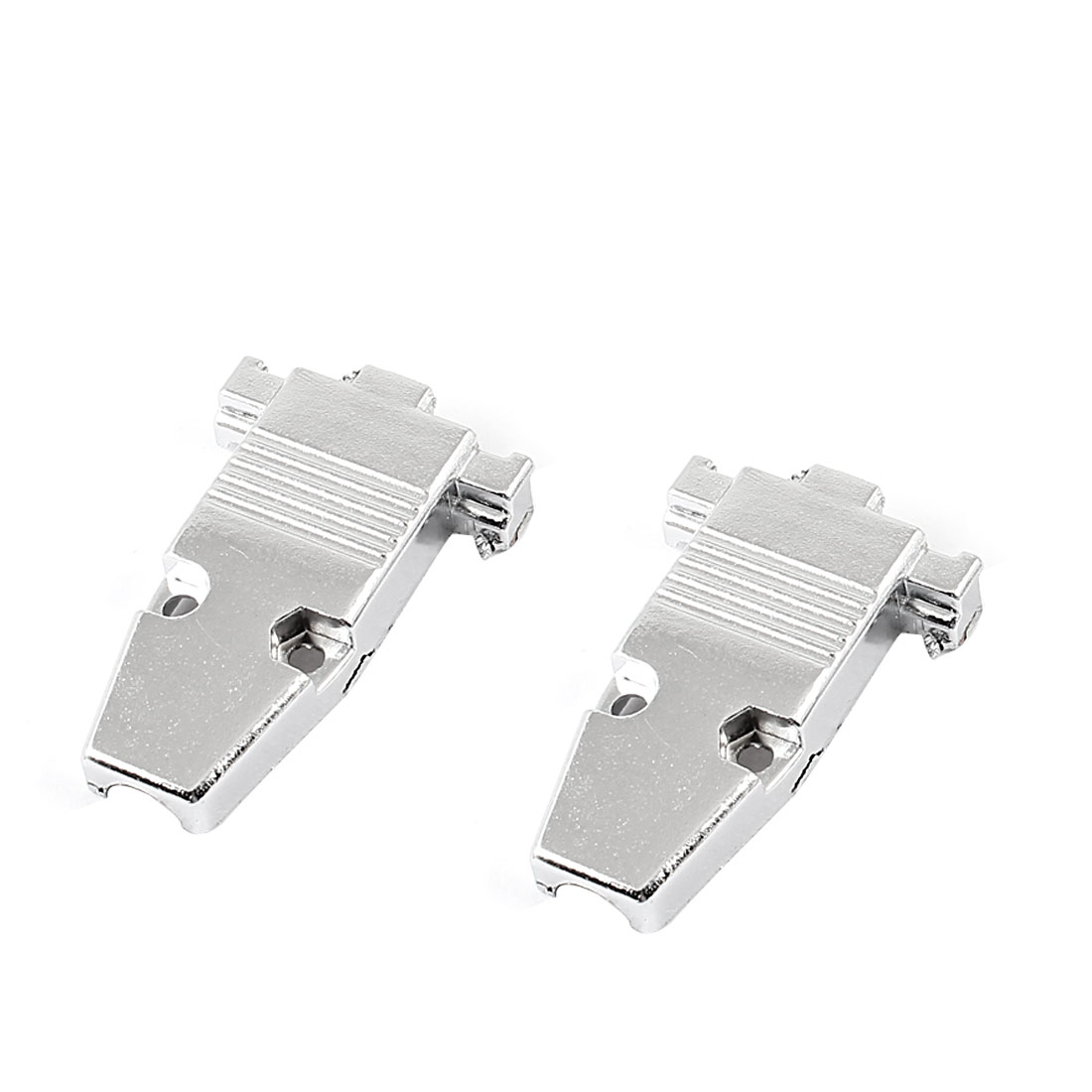 DB9 D-SUB Adapter Connector Metal Hood Cover Silver Tone 2 Pcs