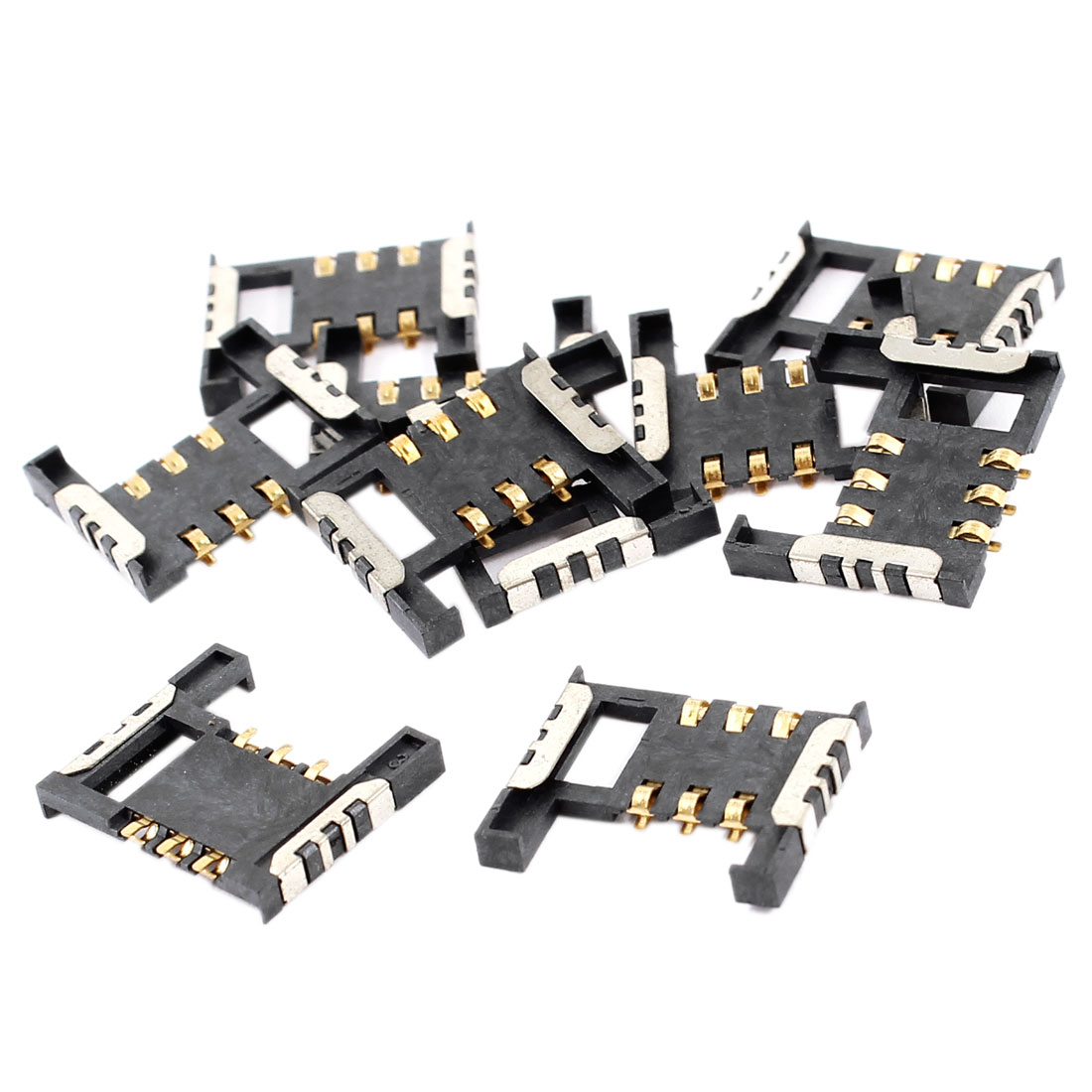 10 Pcs 6-Pin PCB Mounting SIM Card Socket Holder for Mobile Phone