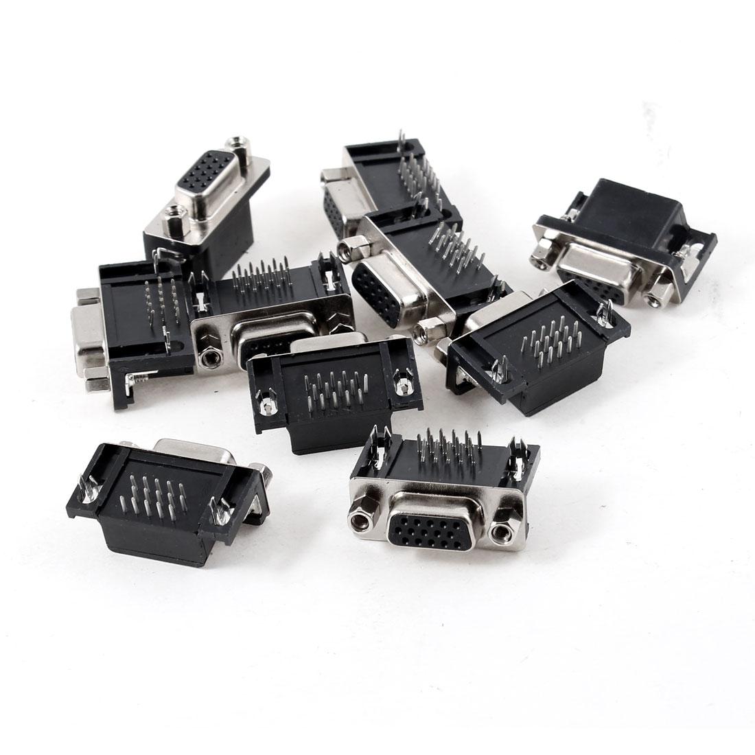 10pcs DB15 15 Pins Right Angle VGA Female Socket Connector Adapter