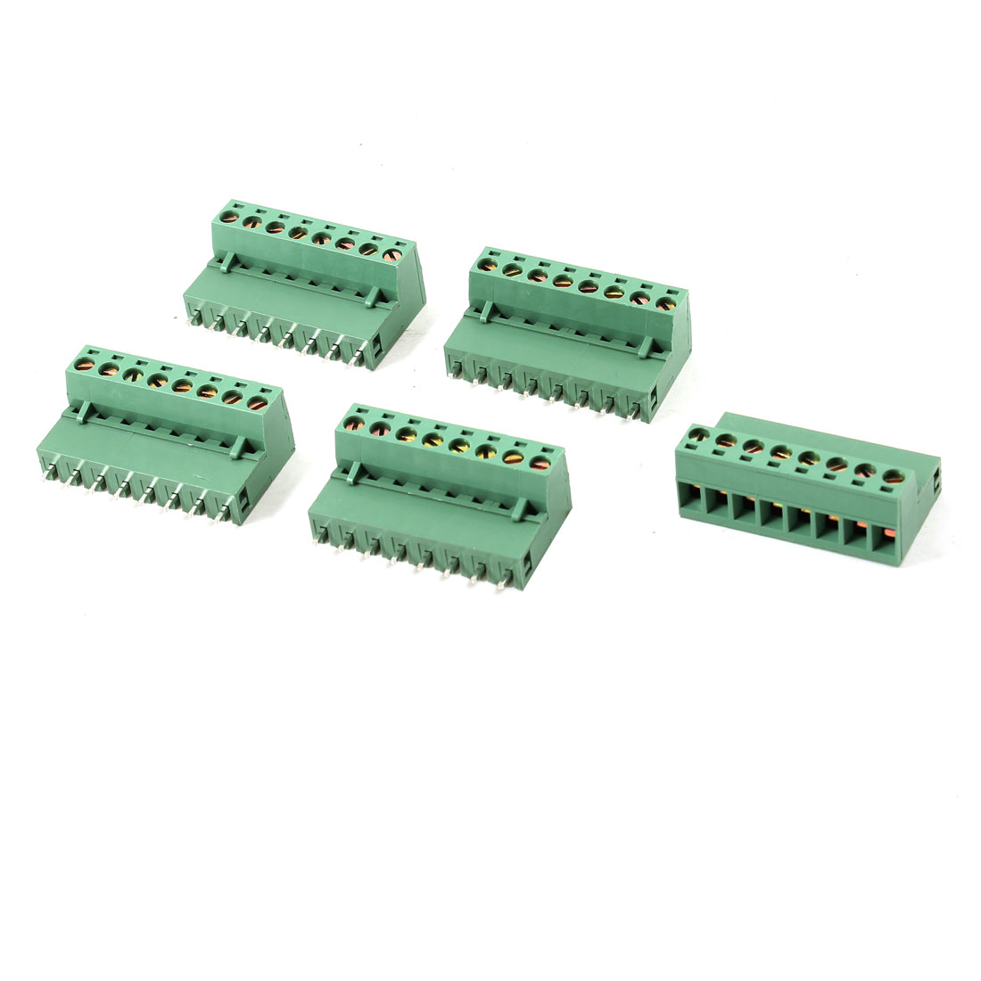 5 Pcs 300V 16A 5.08mm Pitch 8 Pin Screw Pluggable Terminal Block Green