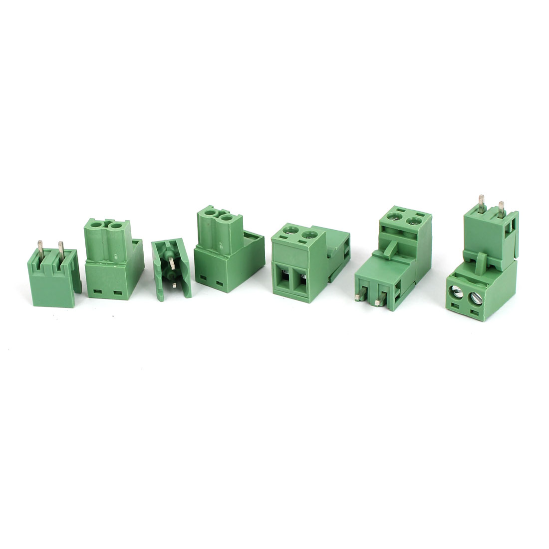 5pcs Green 2P 5.08mm Single Row Screw Pluggable Terminal Block Straight Connector 300V 10A