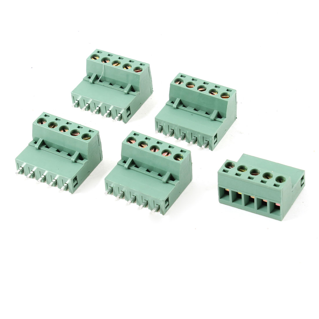 5 Pcs 5 Pins 5.08mm Spacing Screw Pluggable Terminal Block Connector