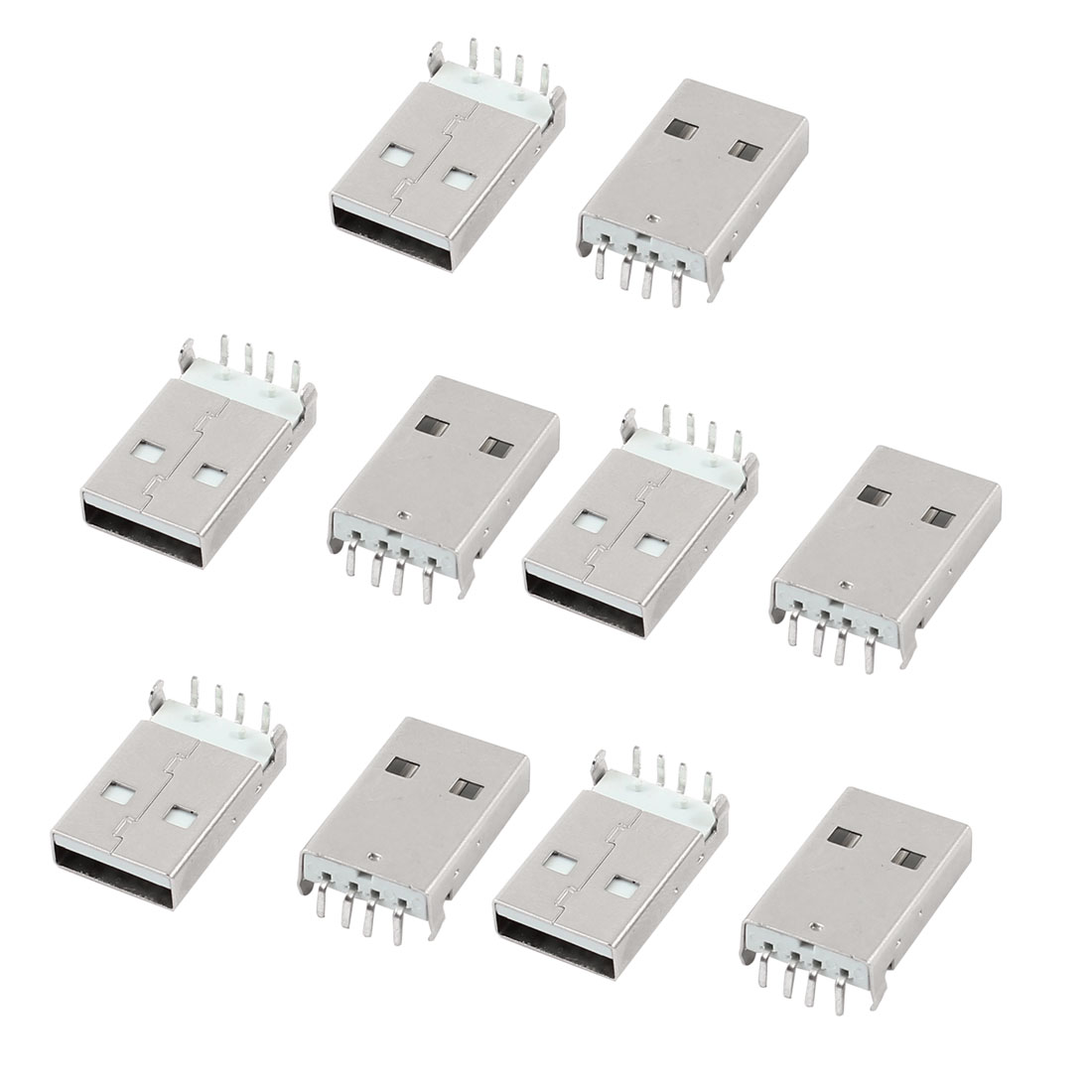 Right Angle 4 Pins PCB Mounting Type A USB 2.0 Male Jack Connector 10pcs