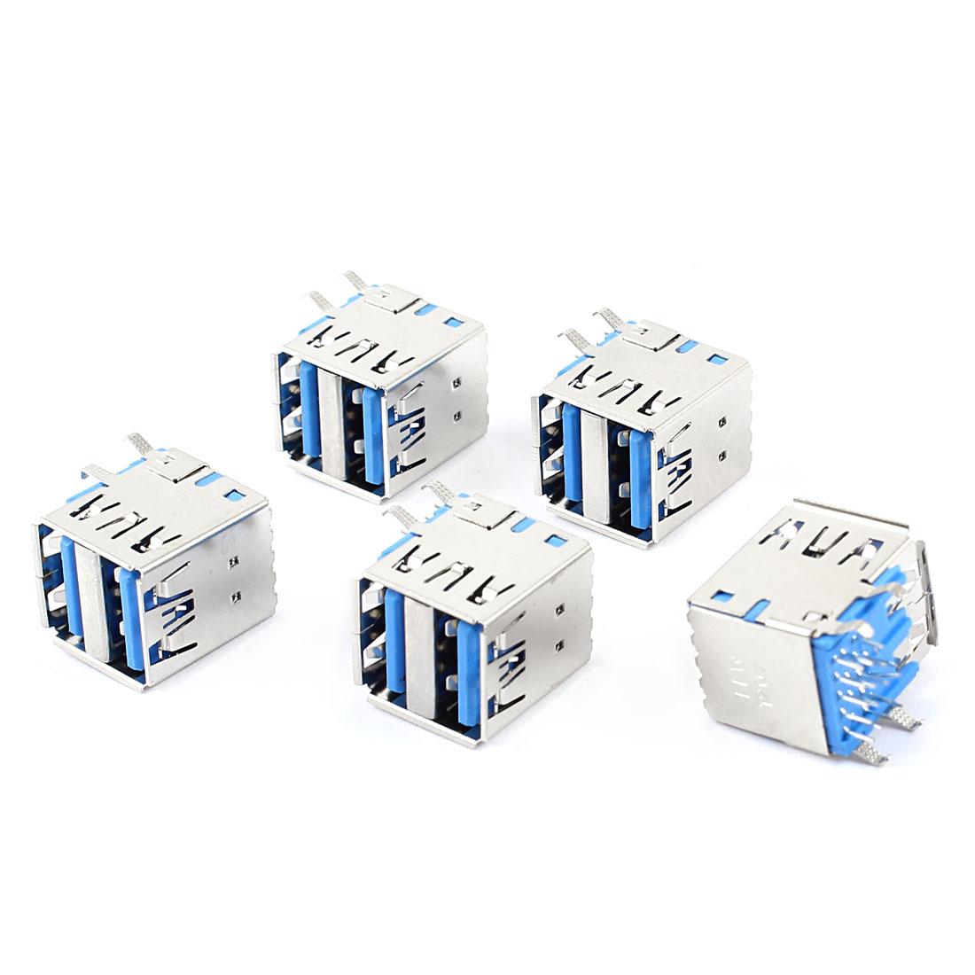 5 Pcs Shielded Double USB 3.0 Type A Female 90 Degree DIP PCB 18-Pin Jack Socket