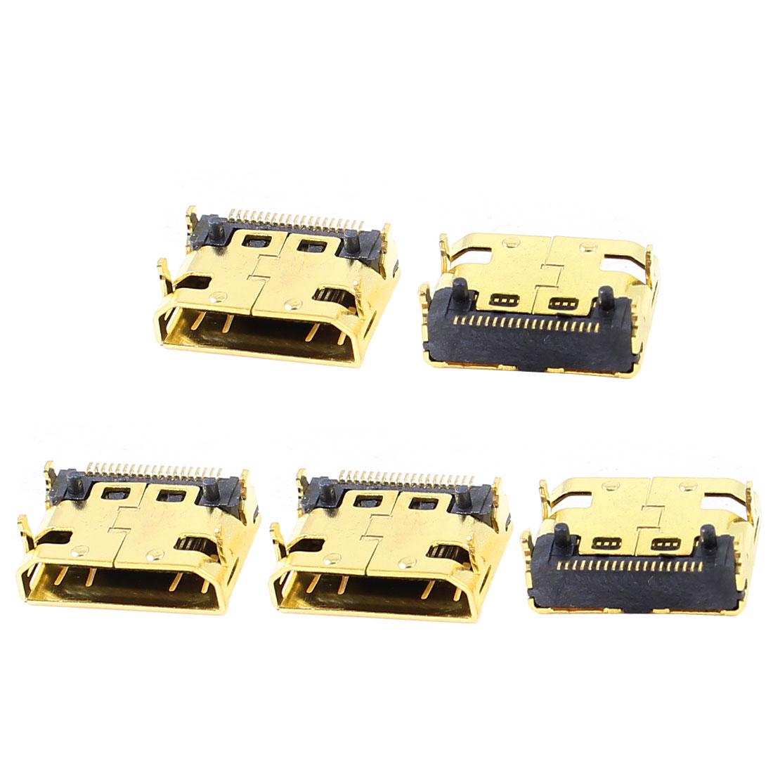 Audio Signal Mini HDMI 19 Pins Female Connector Socket 5 Pcs