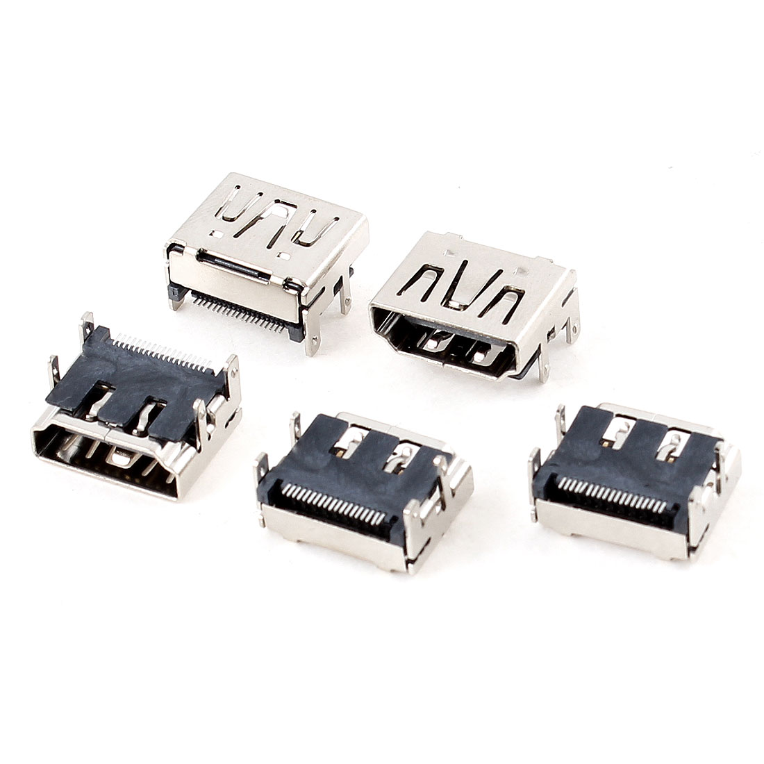 SMT 19 Pin HDMI Connector Female Jack Socket Silver Tone 5pcs