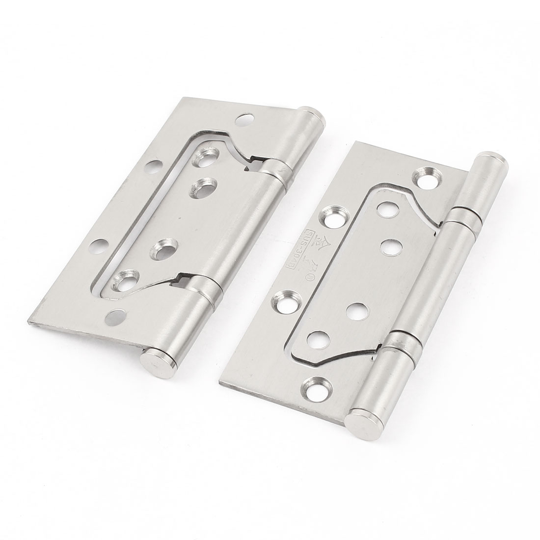 "Pair Hardware Silver Tone Folding Cupboard Cabinet Closet Door Hinge 4"" Long"